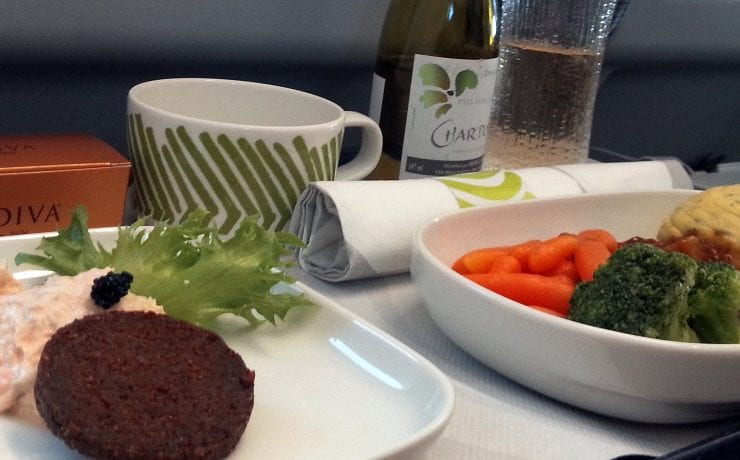 Finnair business class meal tray offering