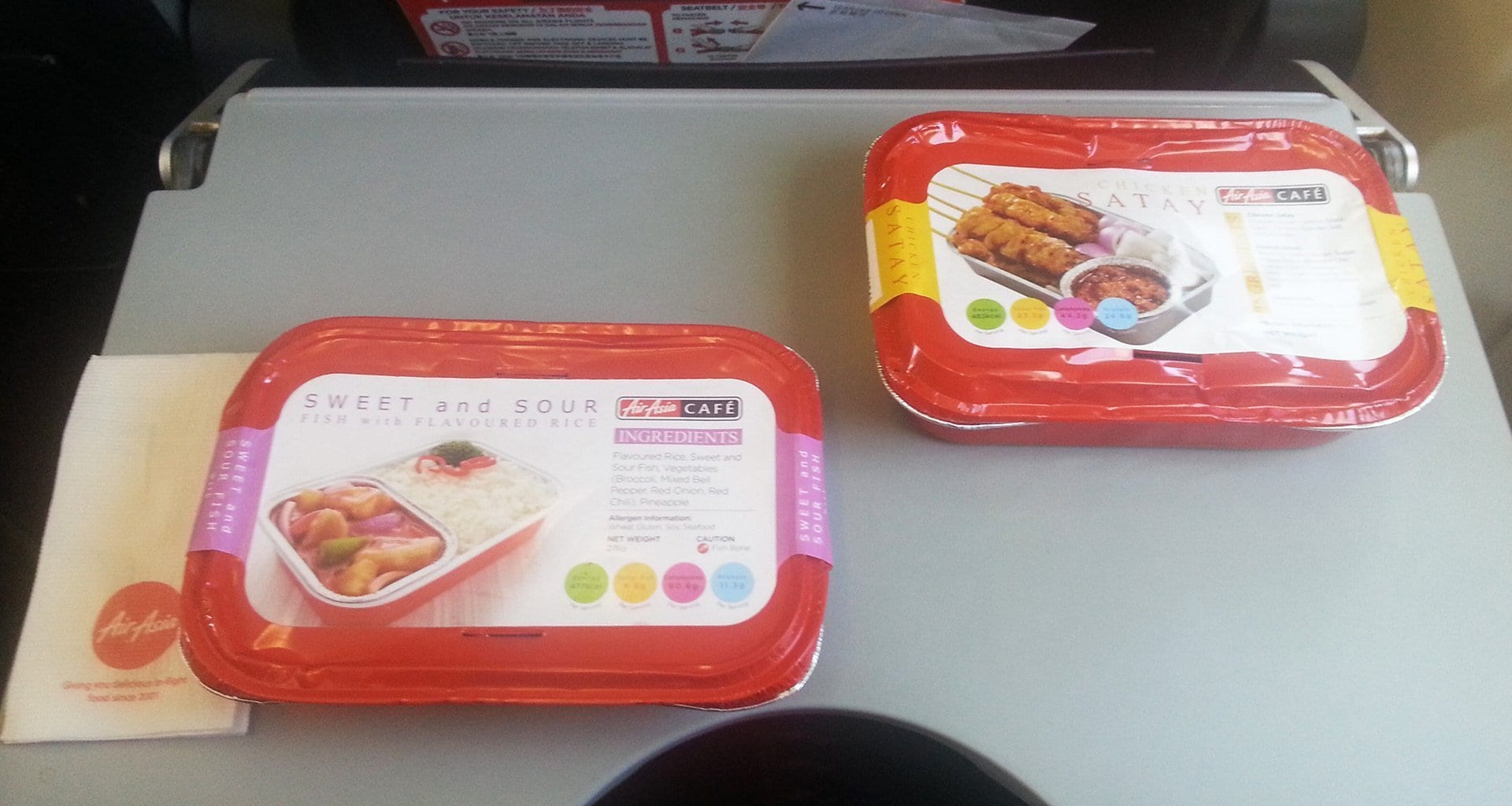 Air Asia inflight meals packaging