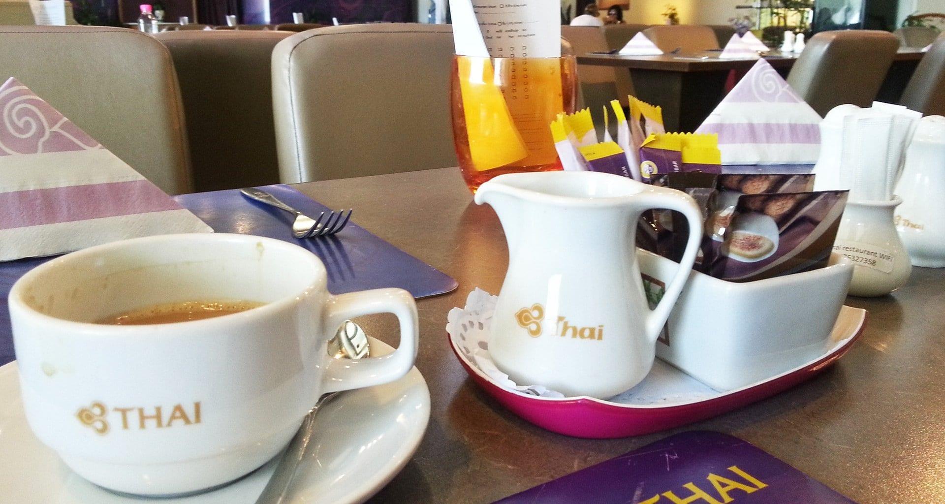Coffee served at Thai Airways restaurant Phuket Airport