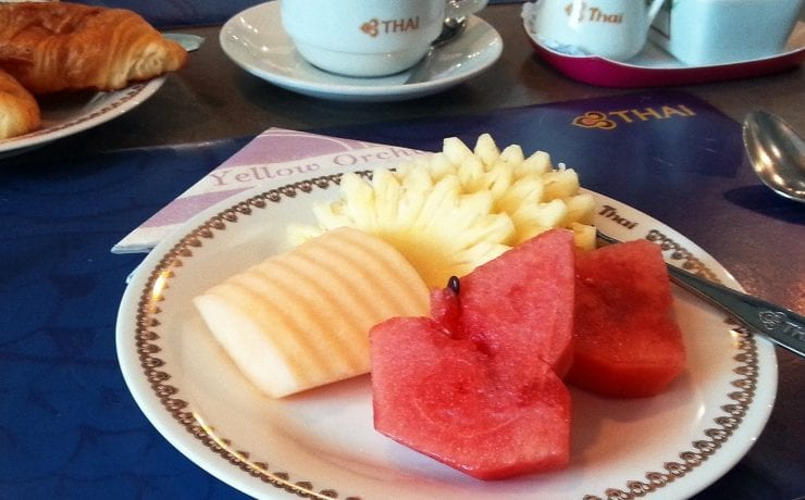 Thai Airways restaurant Phuket Airport fresh fruit plate