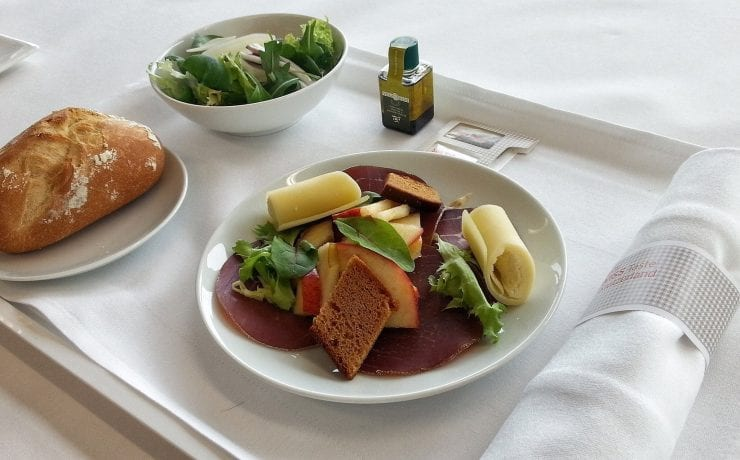 Swiss Airlines business class meal tray