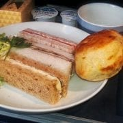 British Airways business class meal sandwiches