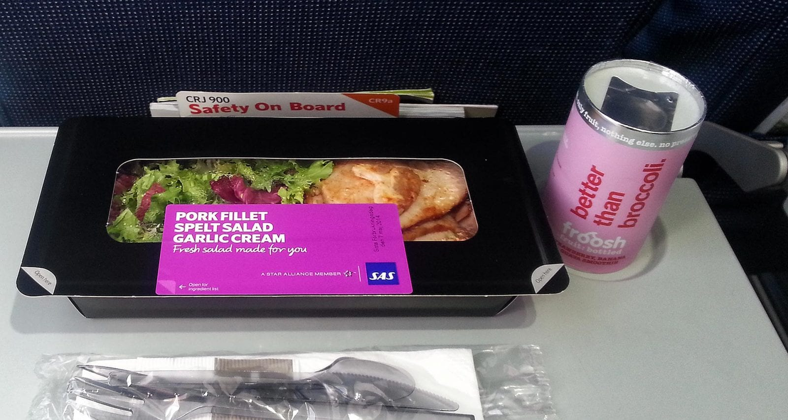 SAS inflight meals economy class pork fillet salad
