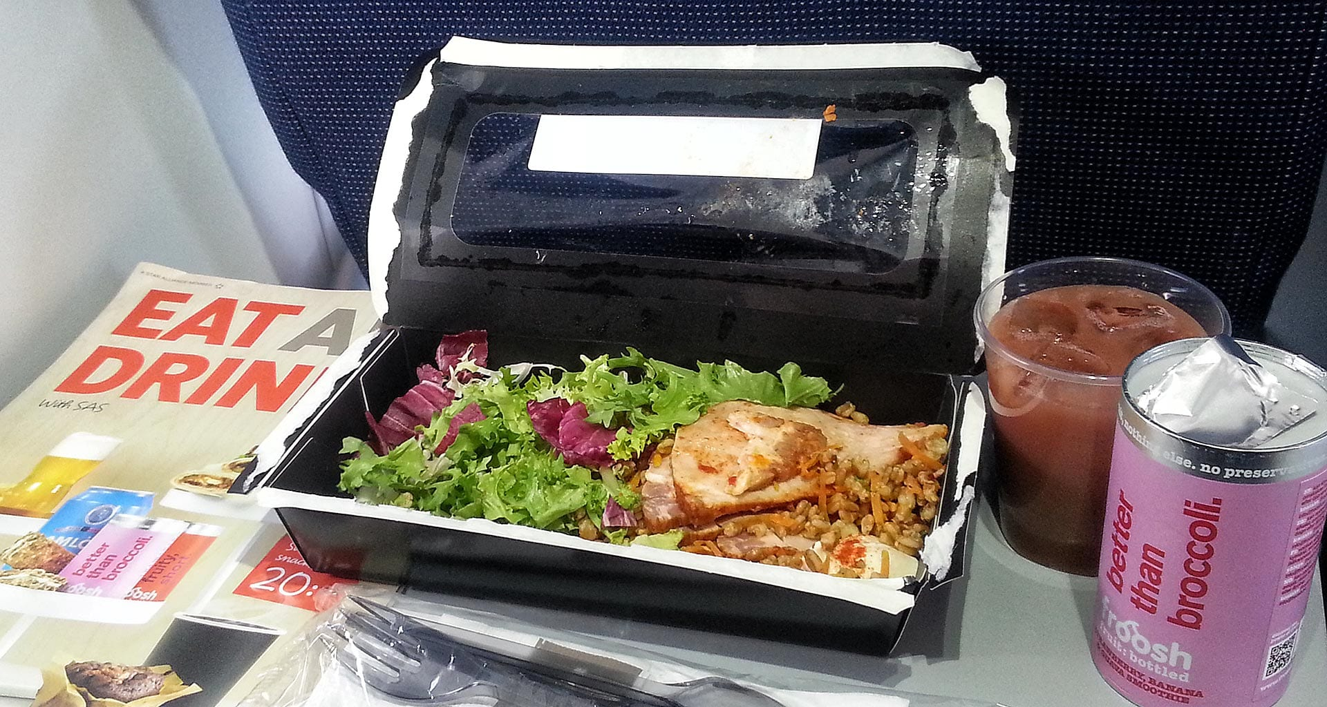 SAS inflight meals economy class salad and drinks