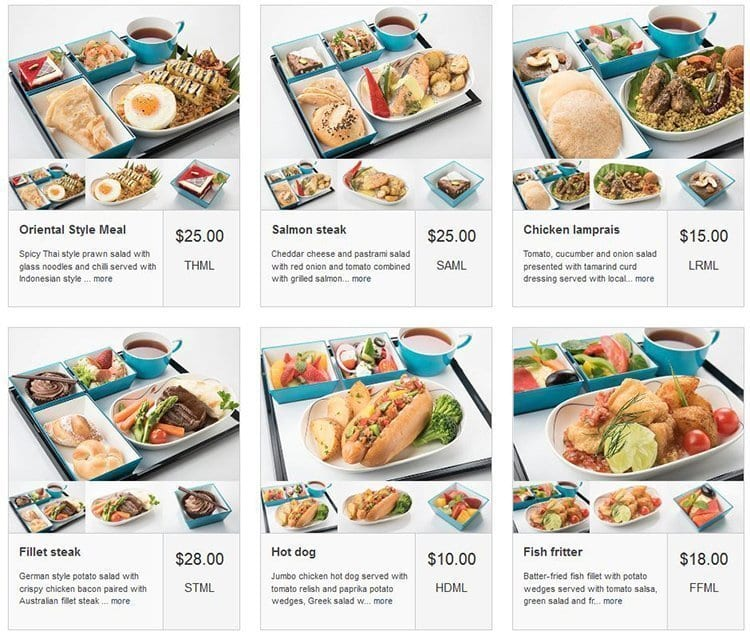 sri lankan airlines pre order meals