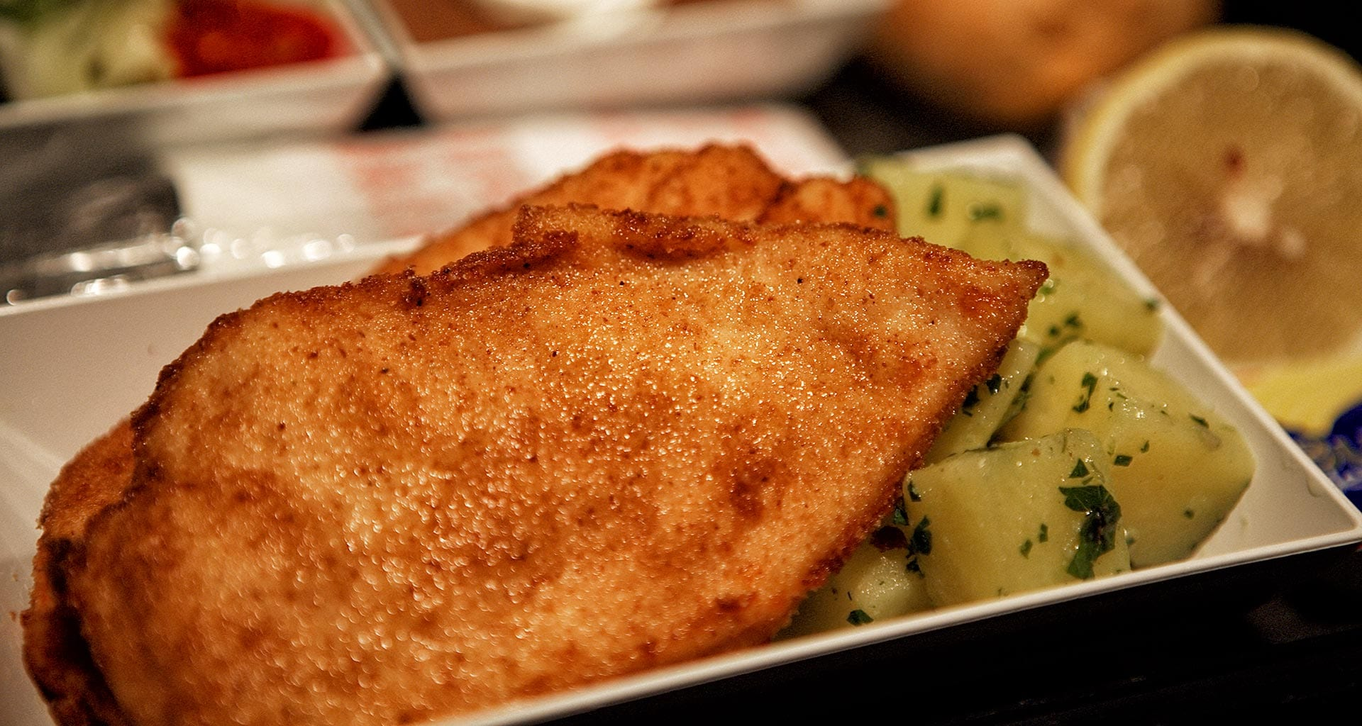 Chicken schnitzel economy class pre order meal Pegasus airlines