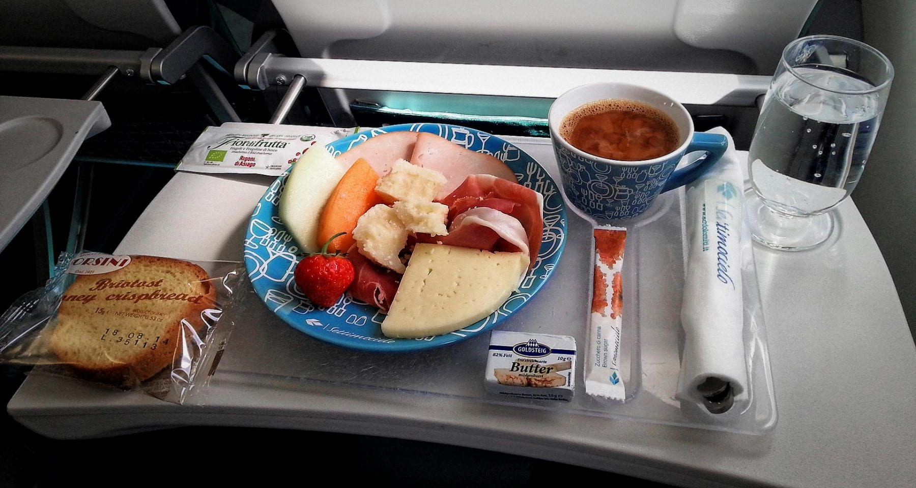 Air dolomiti business class meal, italian breakfast