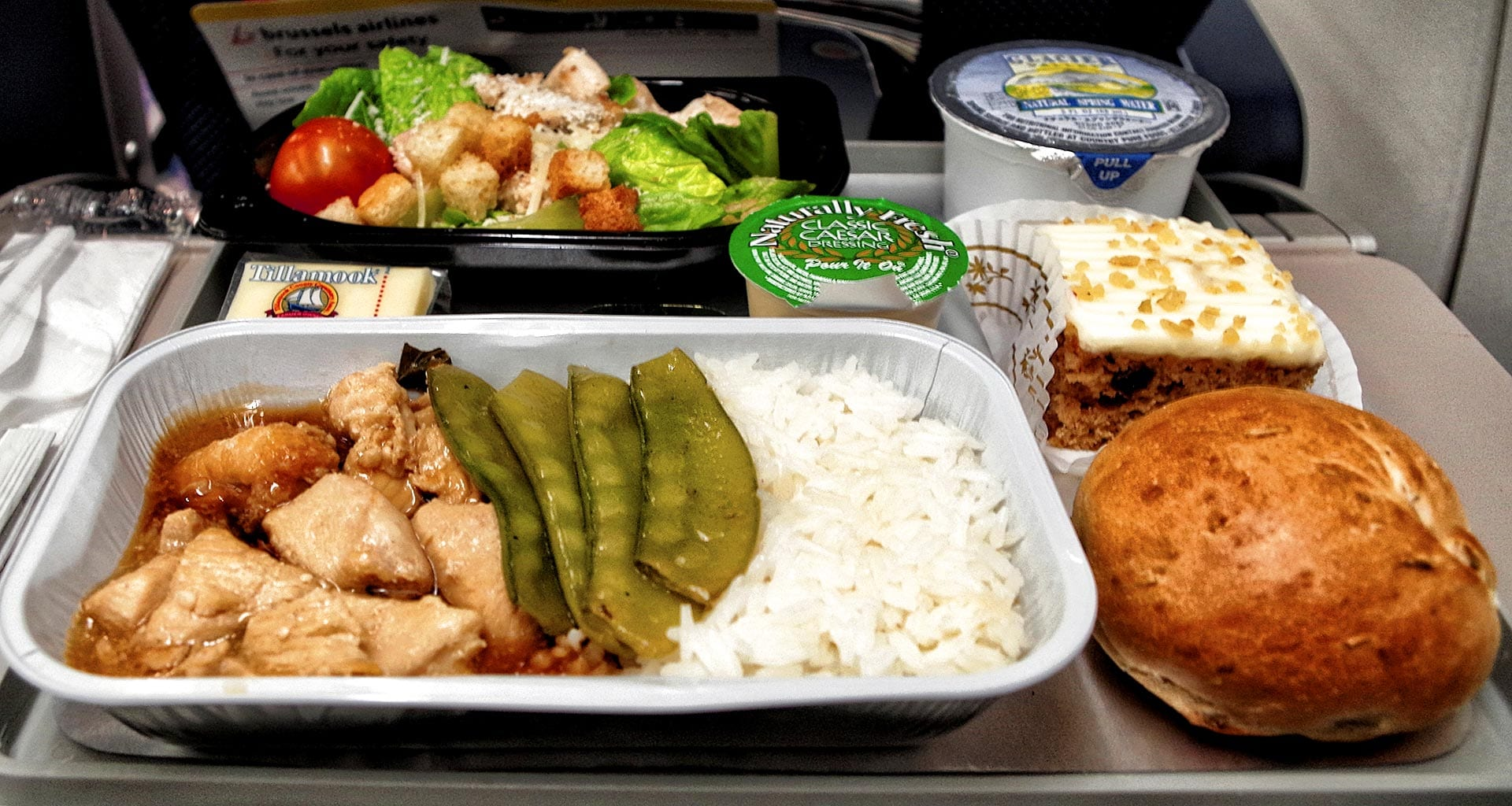 Brussels airlines economy class meal tray