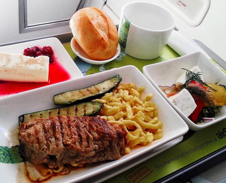 Air Baltic business class meal tray