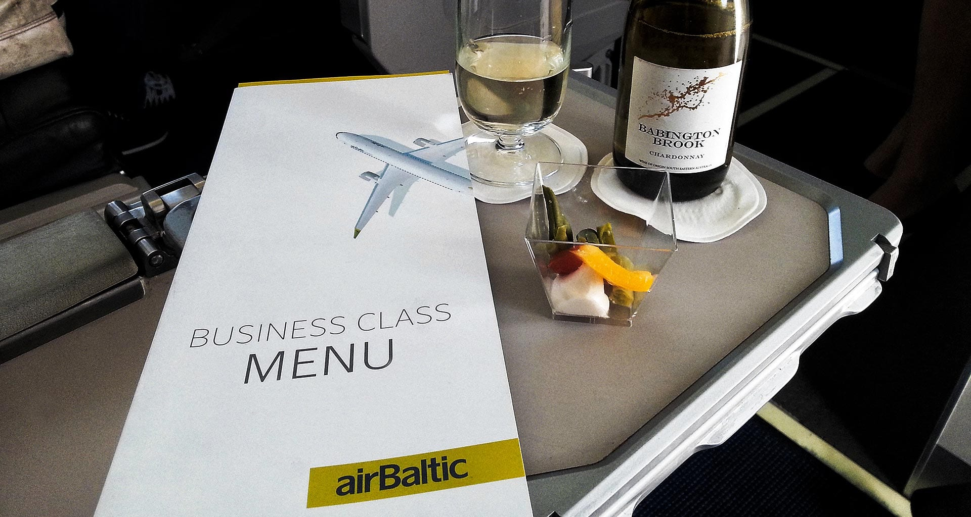Air Baltic business class welcome drink and amuse bouch