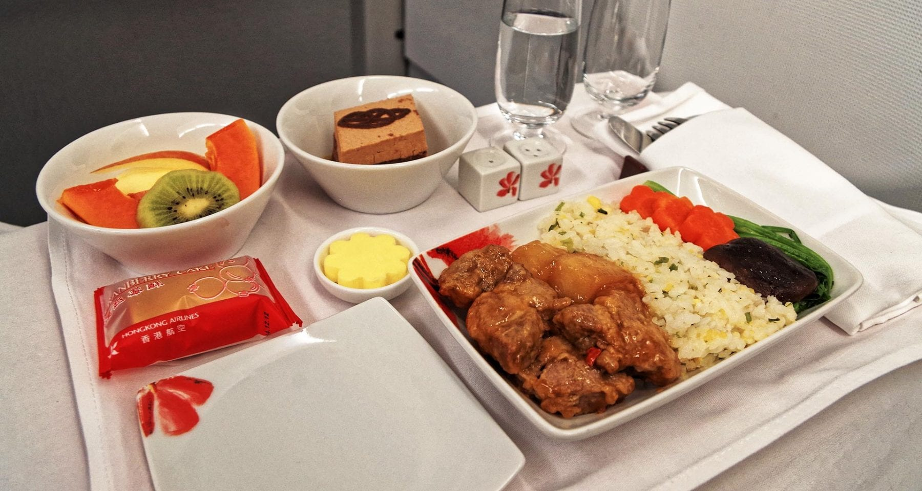 Hong Kong airlines business class meal tray