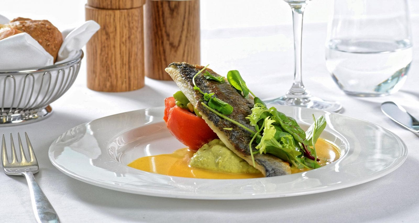 Swiss first class main meal seafood