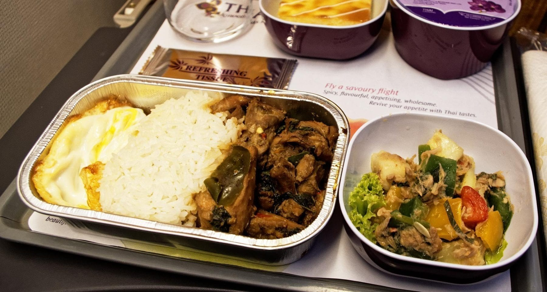 Thai airways rice with vegetables, salad and cake economy class