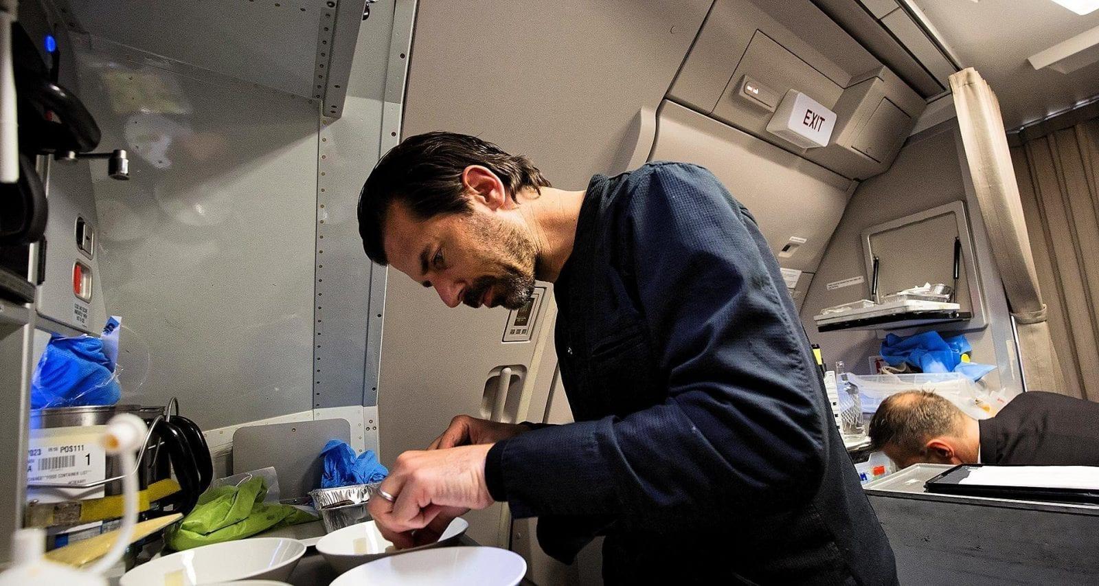 Andreas Caminada galley meal preparation