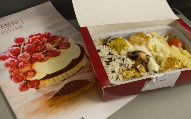 Air Lithuanica economy class inflight meal