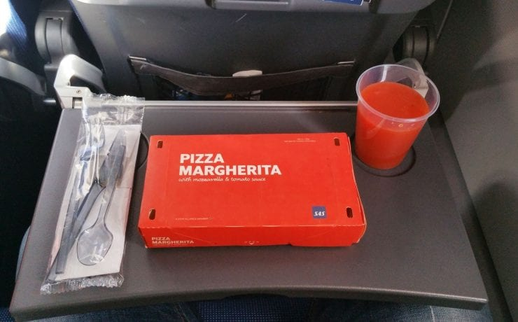Sas Scandinavian airlines inflight pizza