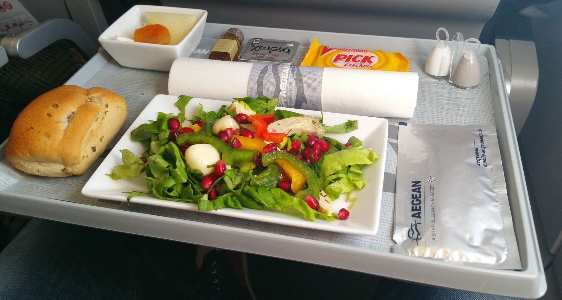 Aegean airlines business class fresh salad