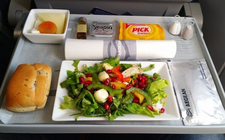 Aegean airlines business class inflight salad