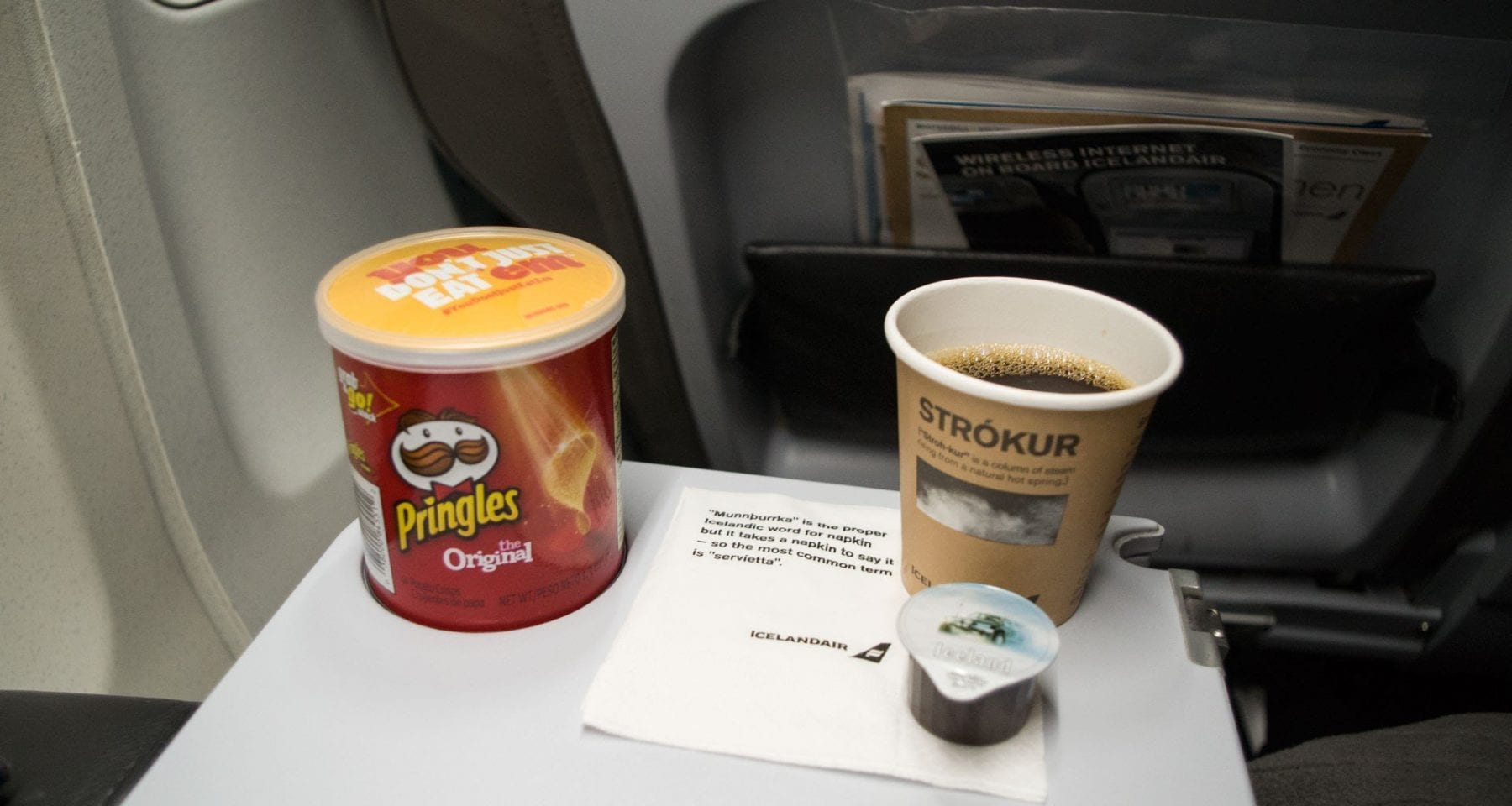 Icelandair inflight snack and coffee