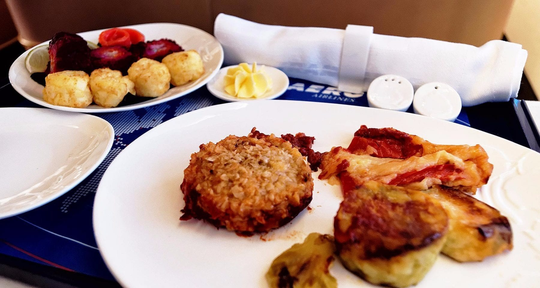 Transaero business class meal - rabbit pattie