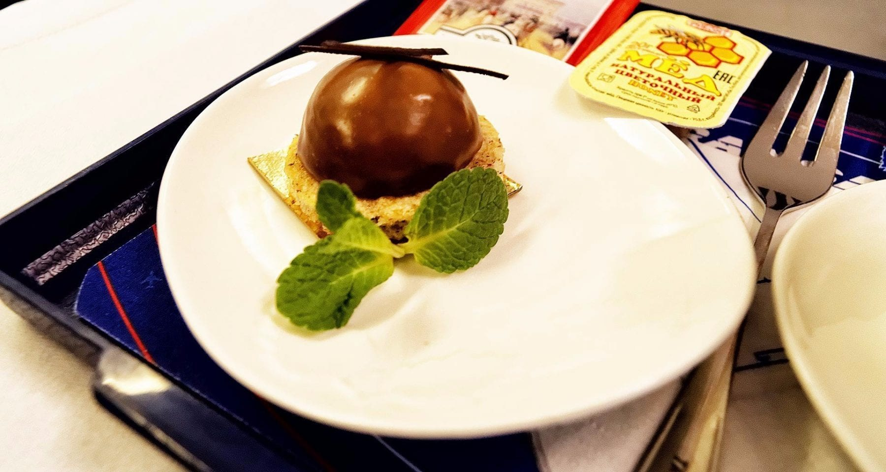 Transaero business class meal dessert
