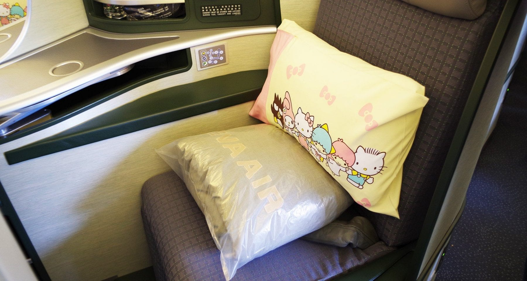 Eva Air Hello Kitty pillow and blanket