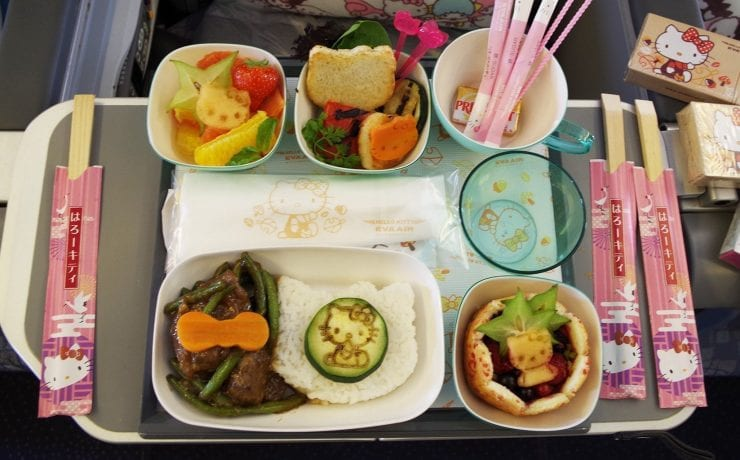 Hello Kitty Eva Air premium economy class meal