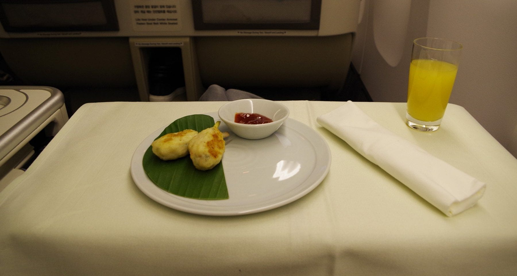 korean air supper service chicken