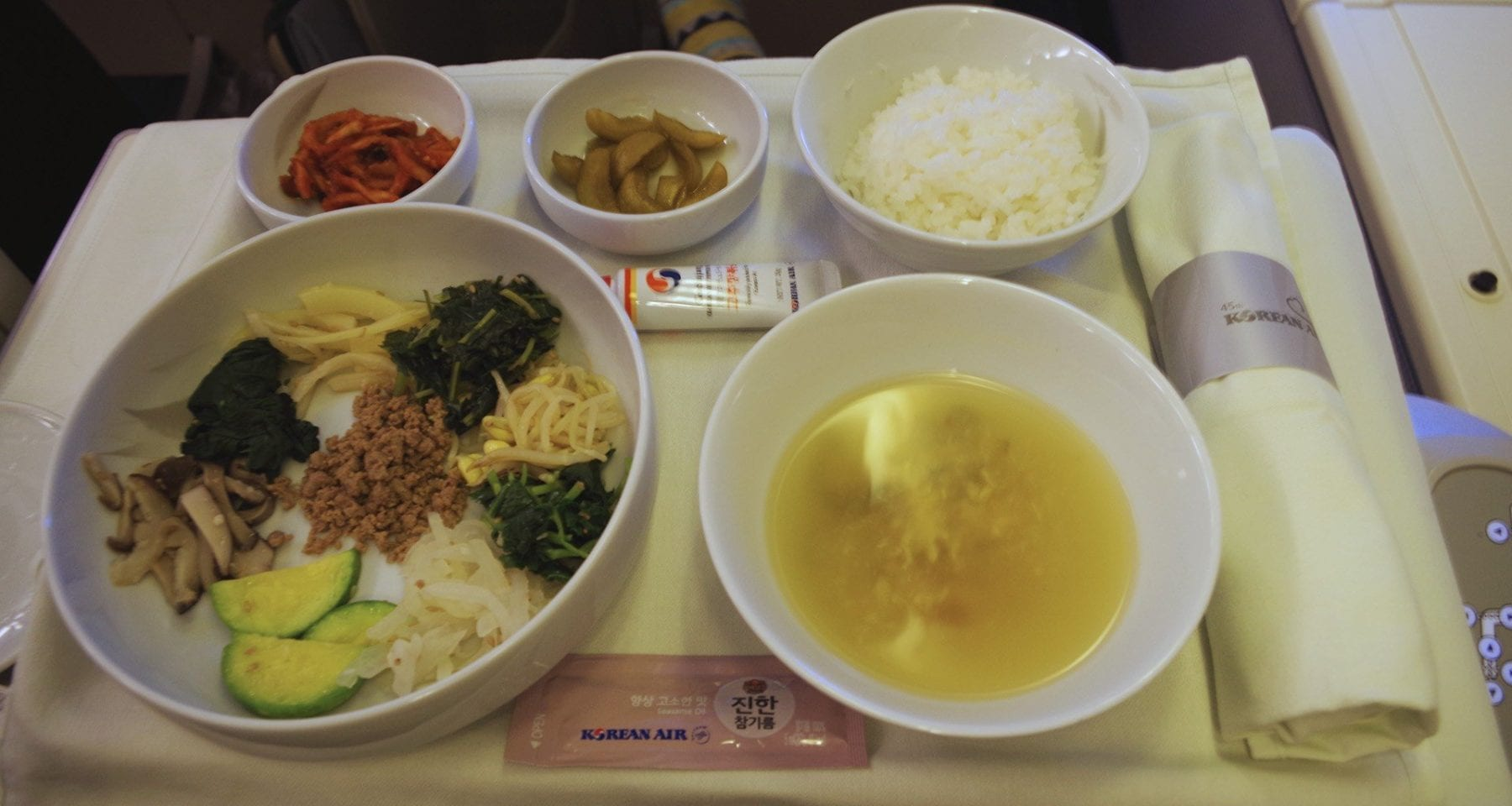 Korean Air bibimbap business class meal