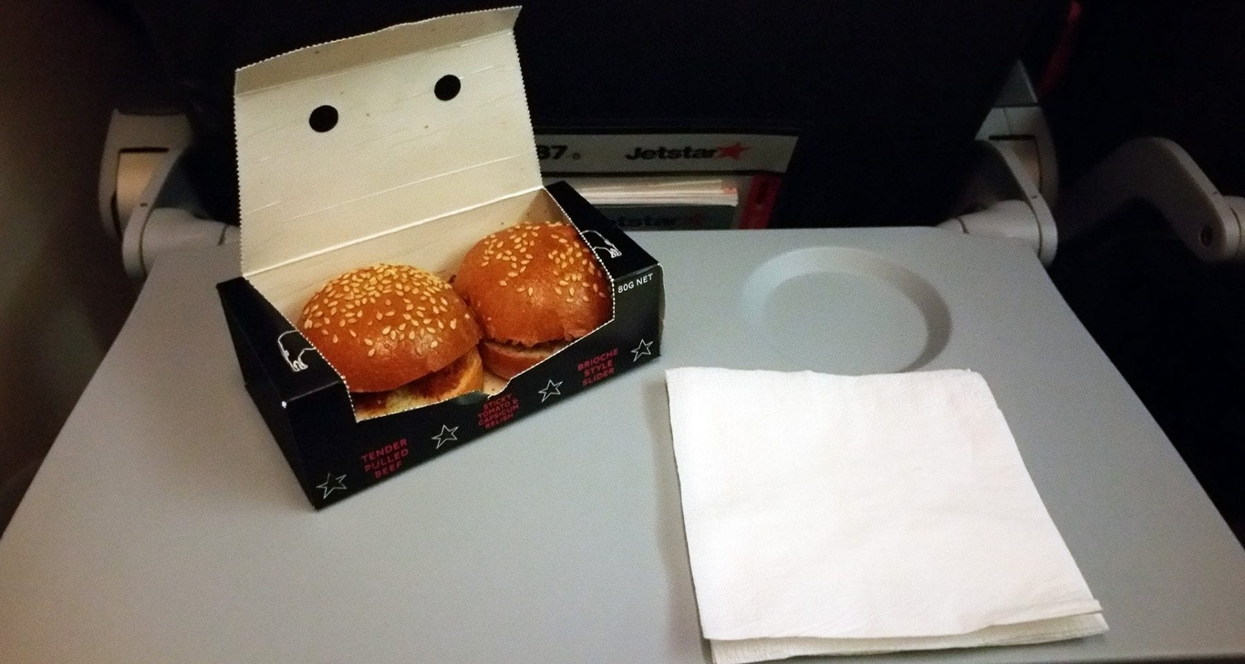 Jetstar economy class pre order meal burgers