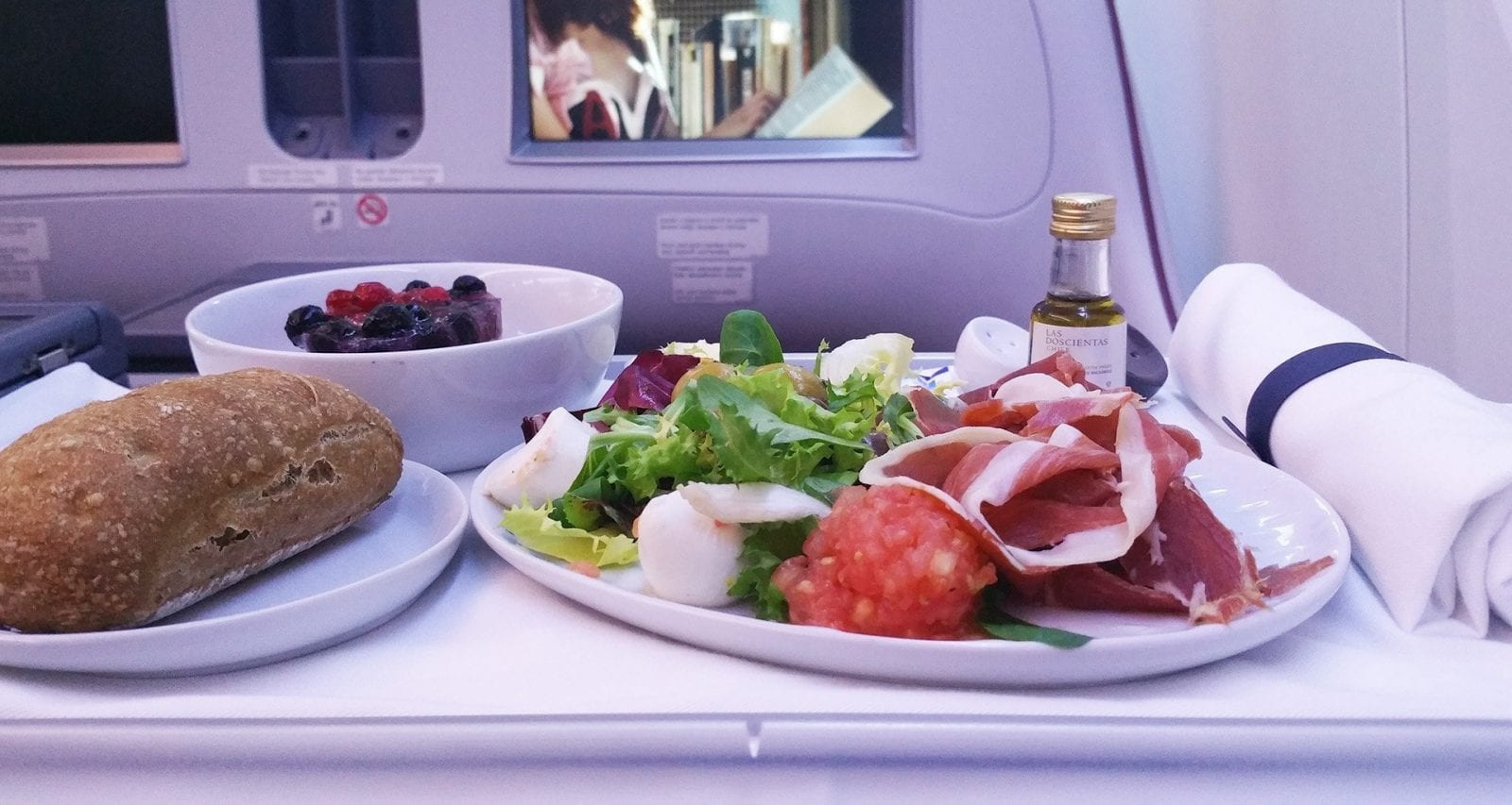 Lan Chile business class inflight meal salad