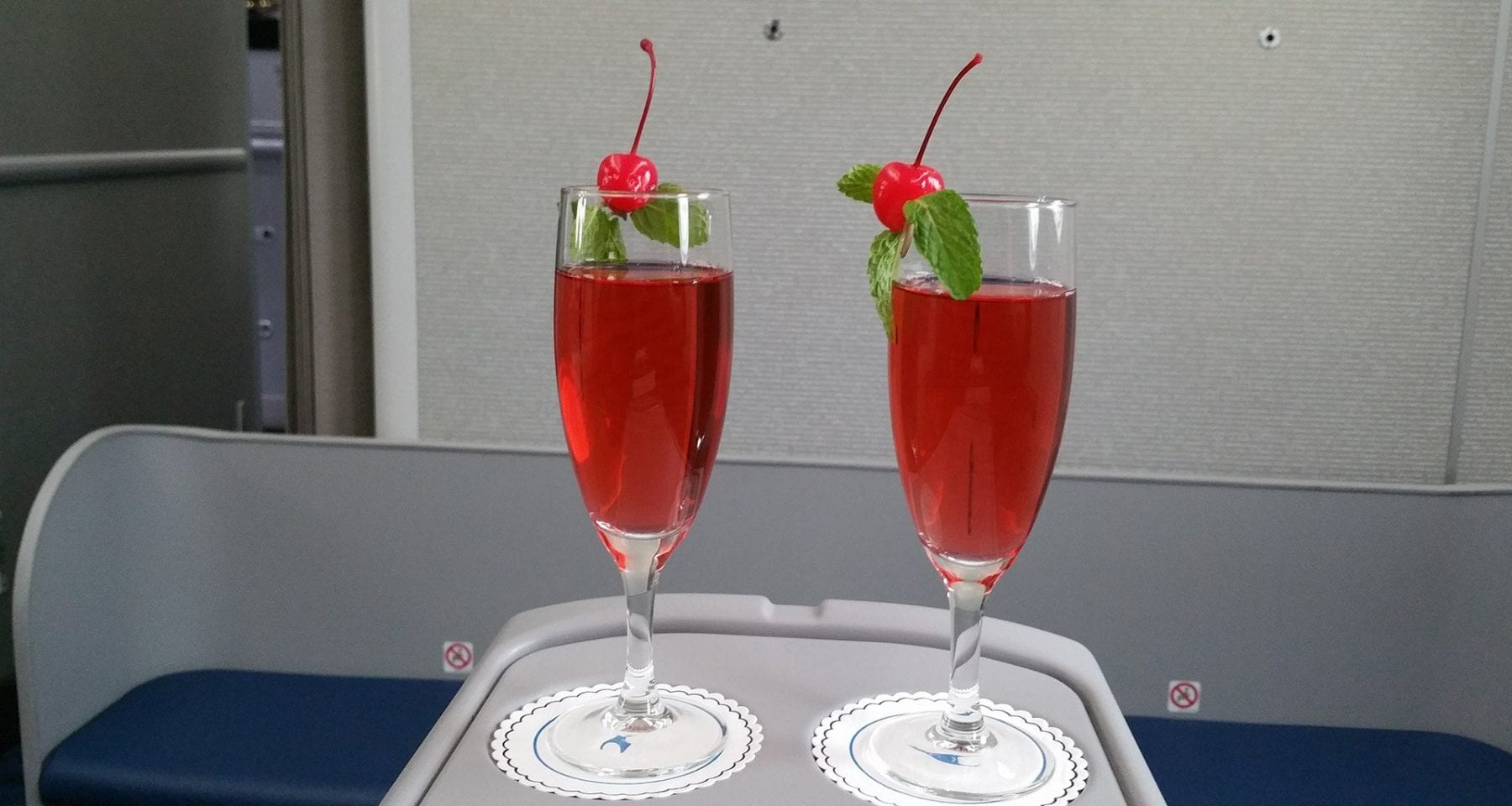Xiamen Airlines business class welcome drinks