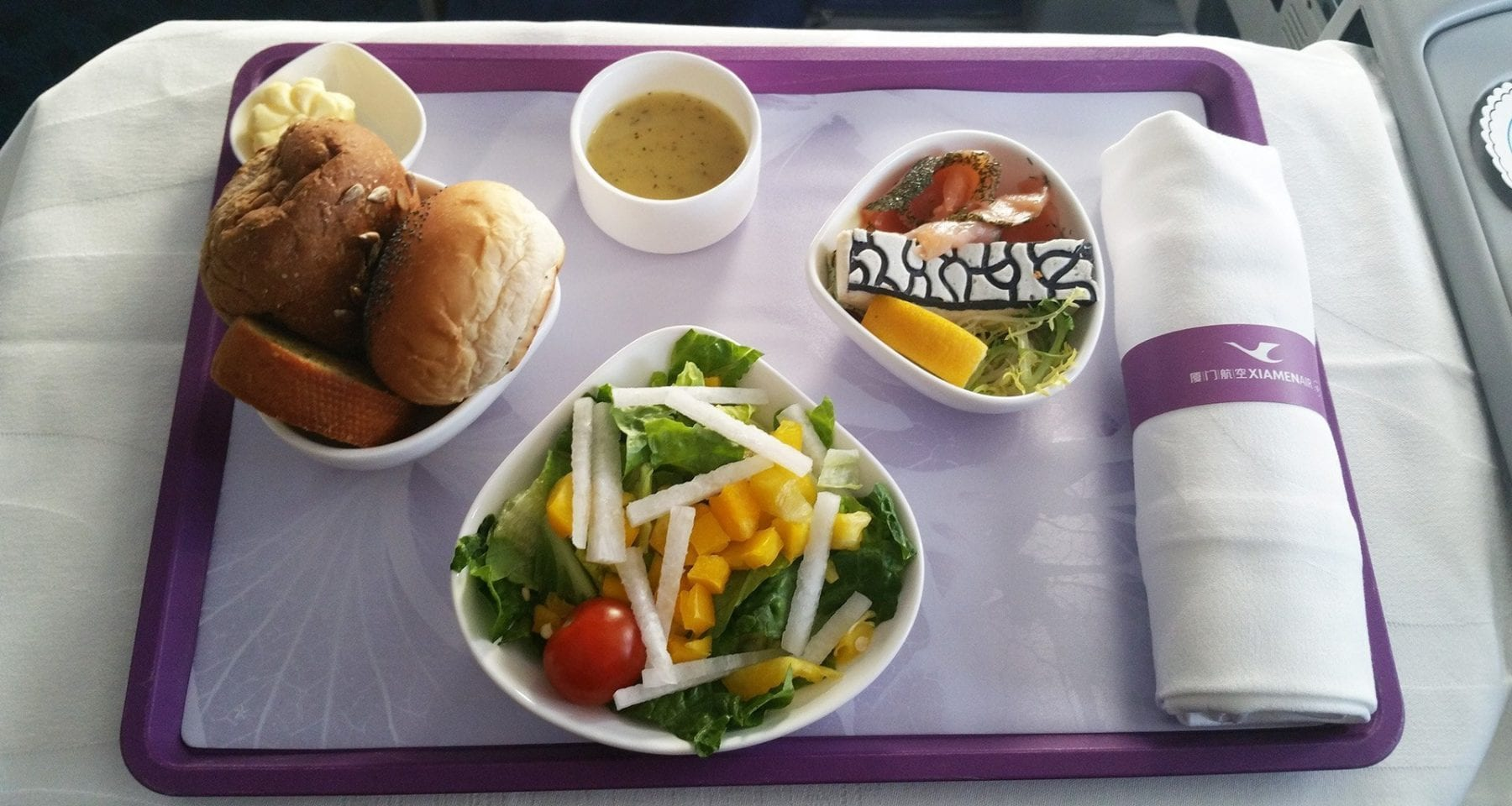 Xiamen airlines business class salad
