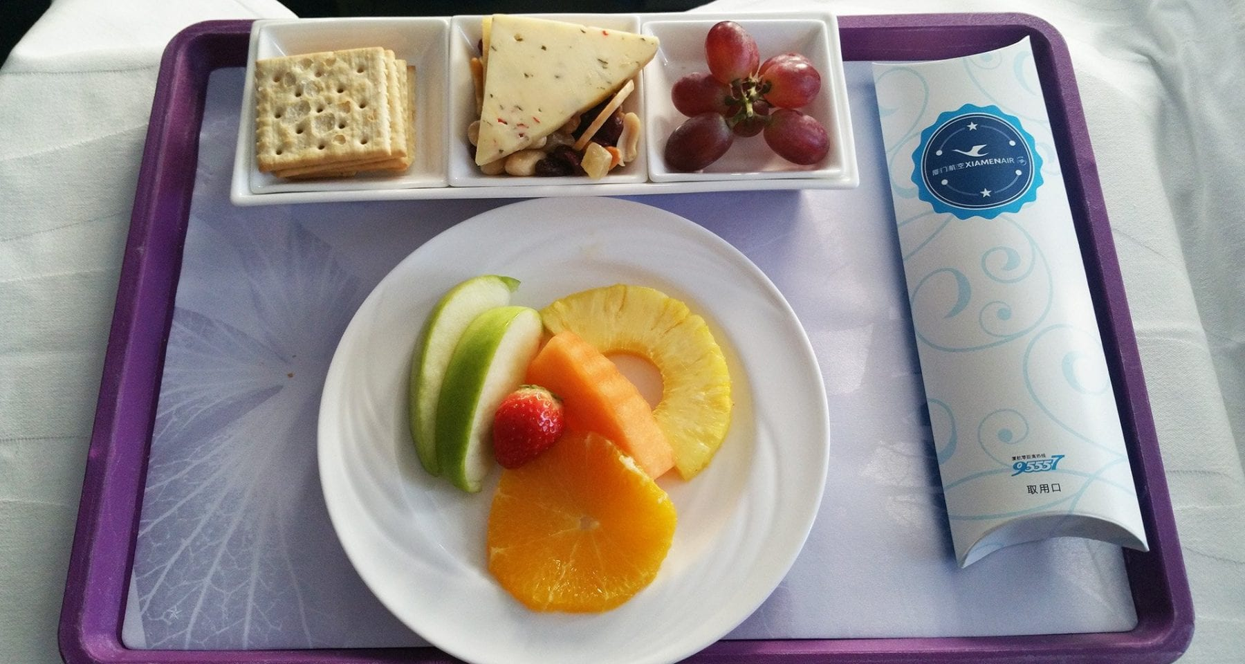 xiamen airlines fruit plate business class