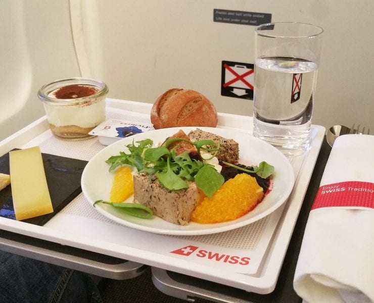 swiss airlines business class meal