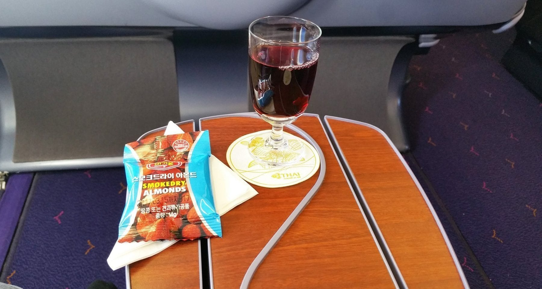 Thai Airways after take off drink and nuts