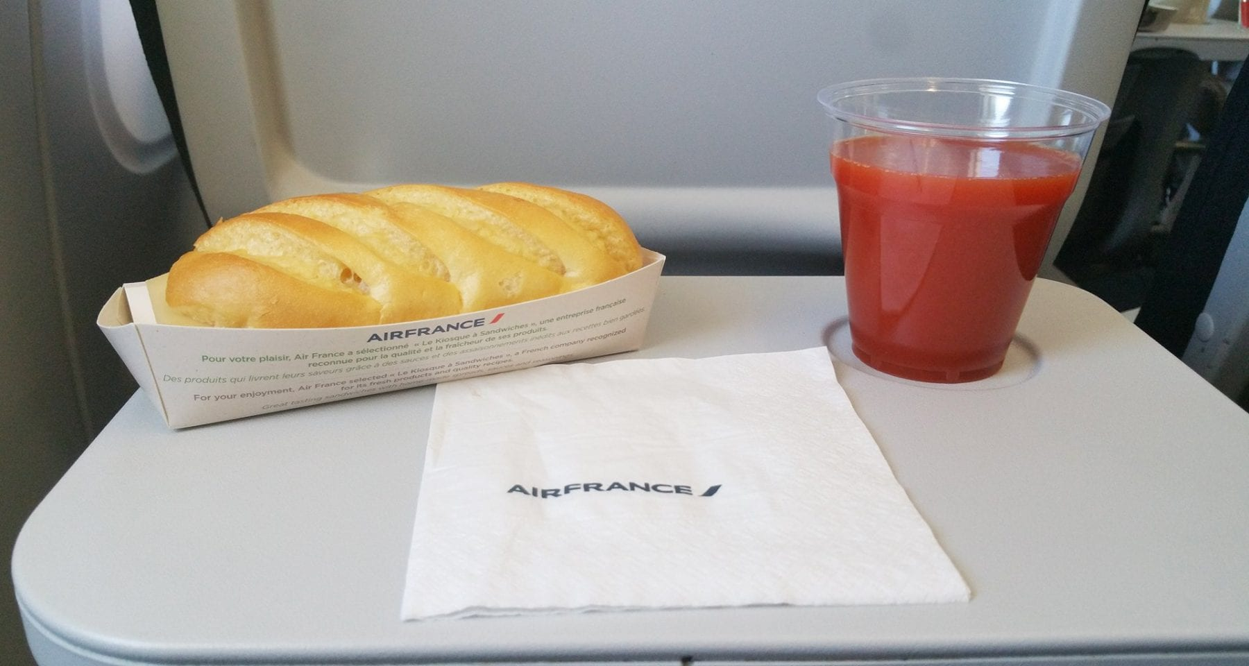 Air france Europe economy class baguette