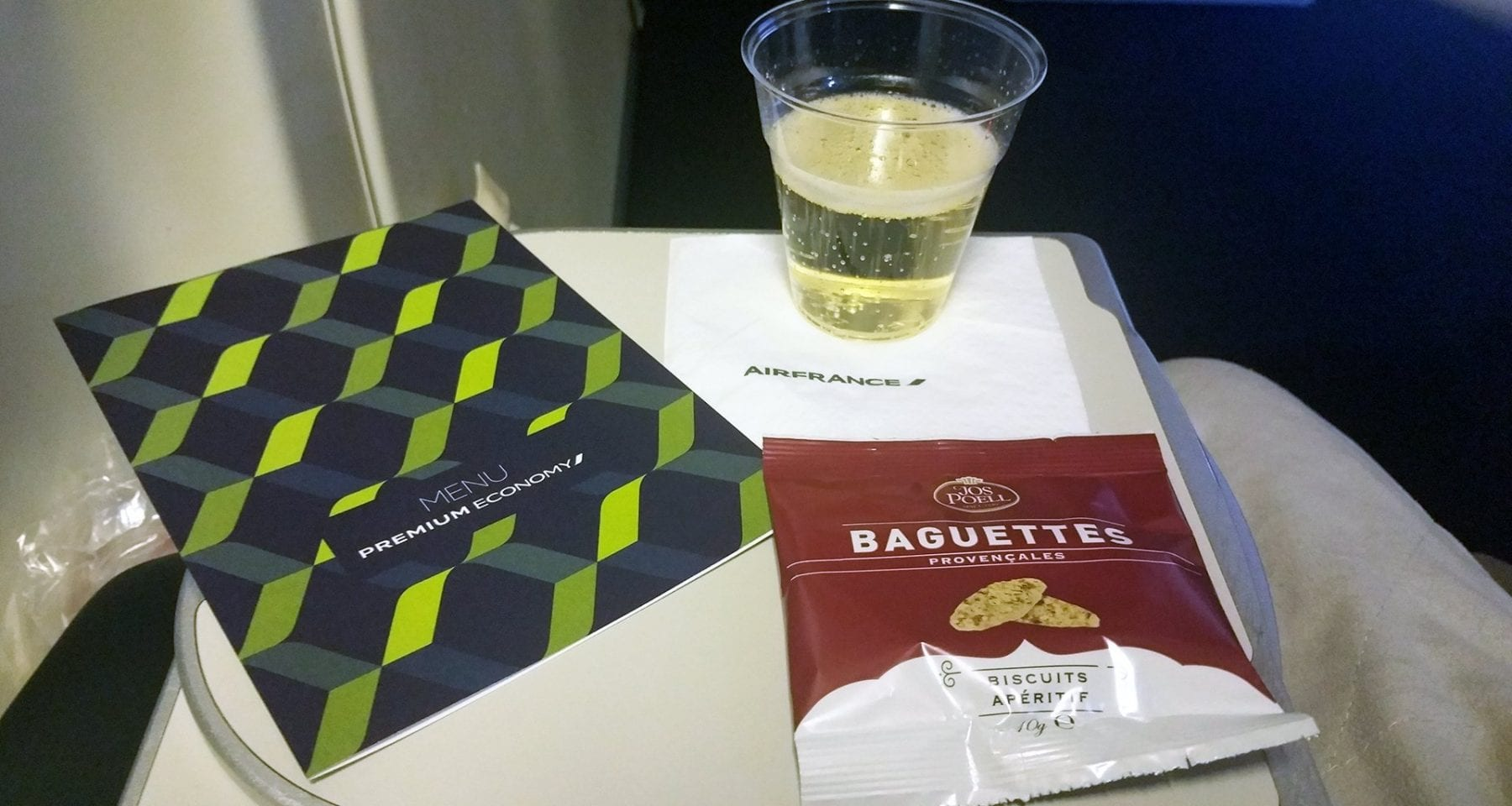 champagne air france and premium economy menu