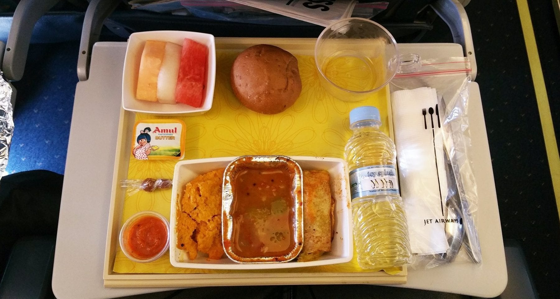 Jet Airways economy class meal