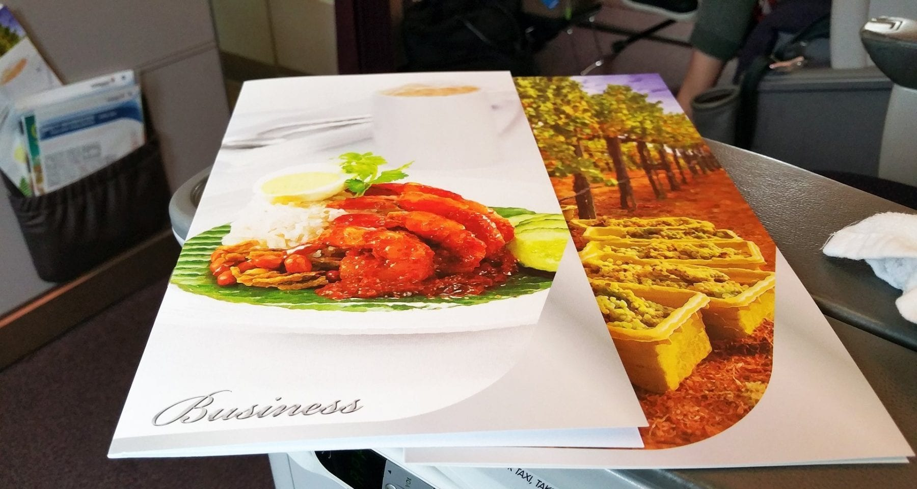 Malaysia airlines business class menus