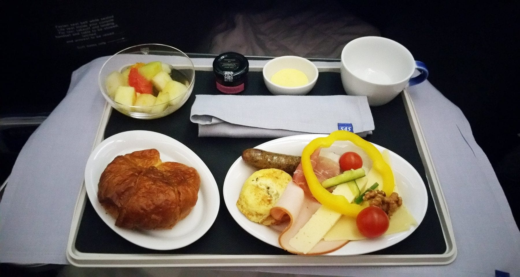 SAS Scandinavian airlines business class breakfast