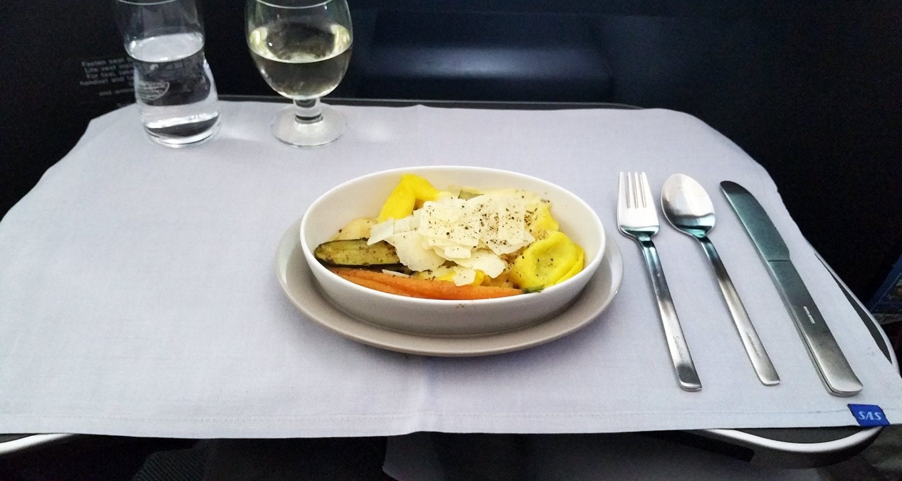 SAS Scandinavian airlines business class pasta dish