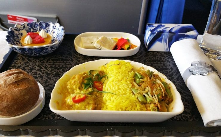 KLM business class meal on european flights