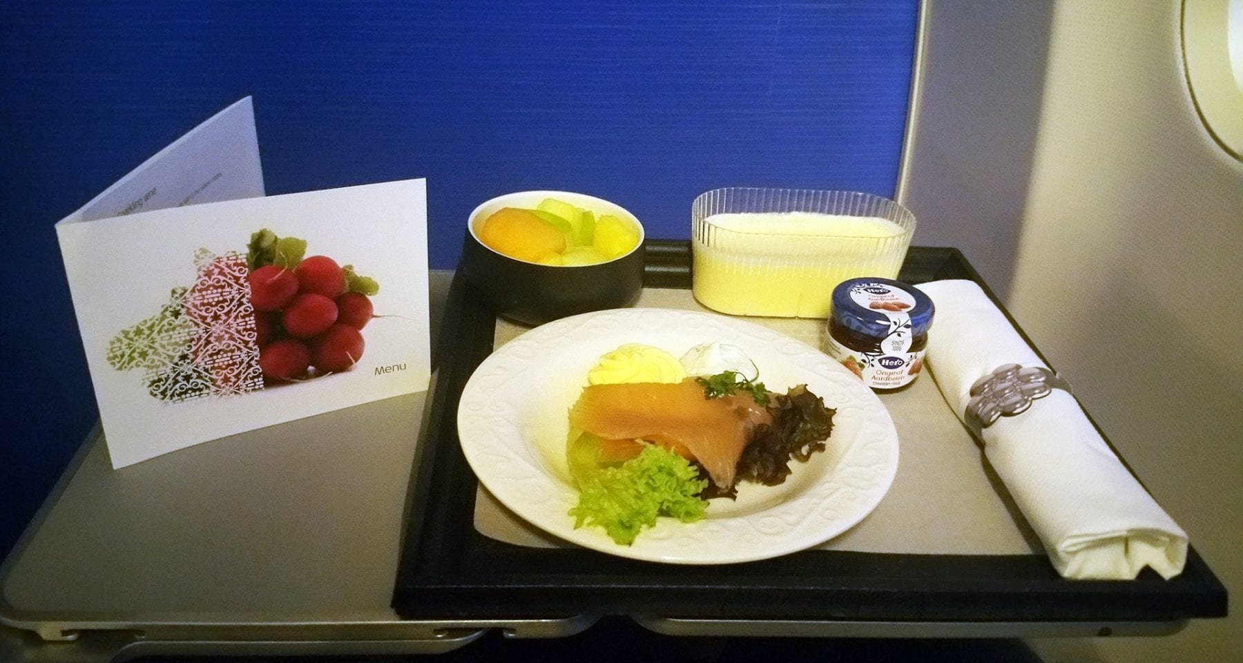 KLM inflight breakfast business class