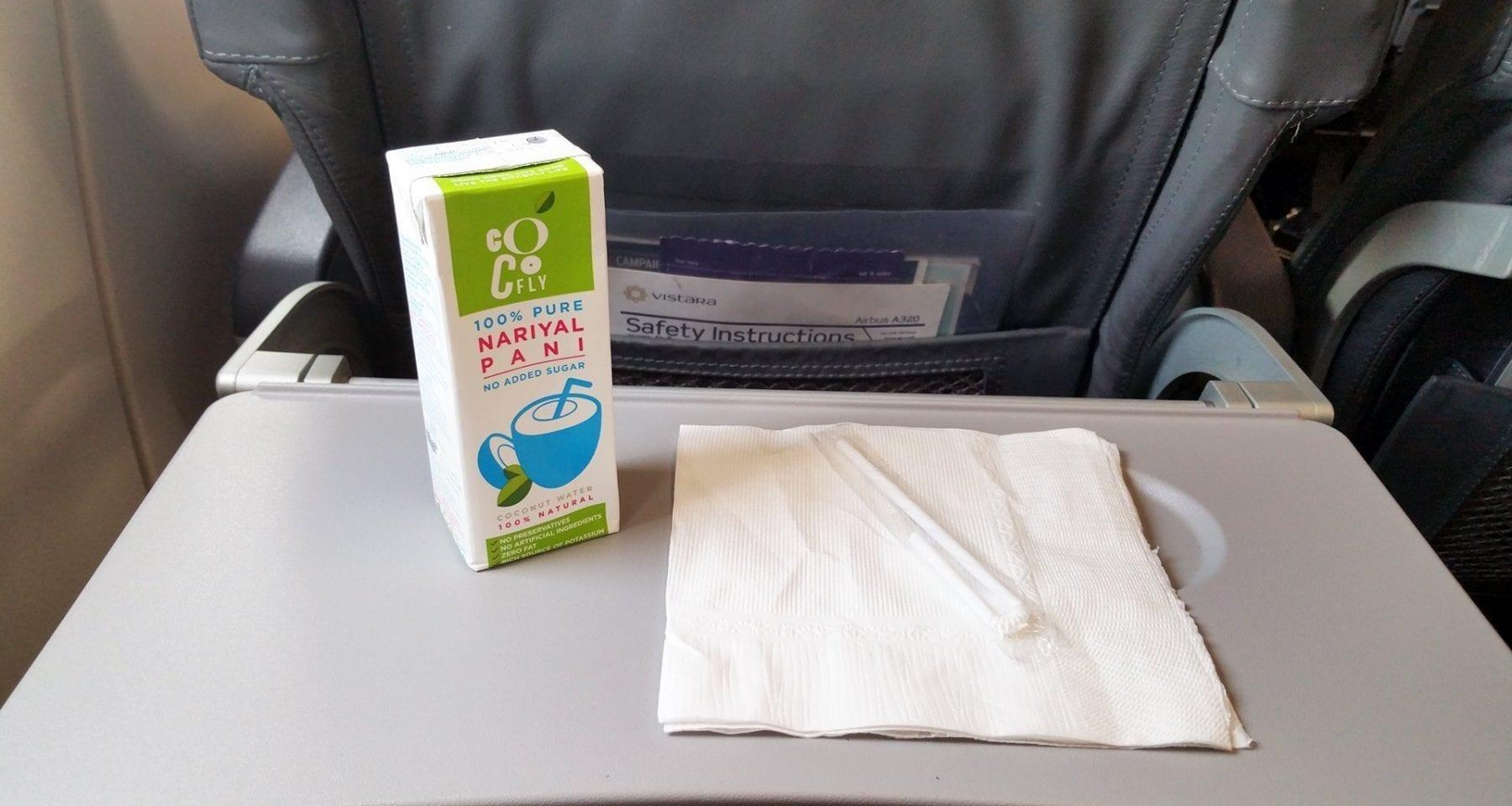 Vistara Airlines premium economy class coconut water