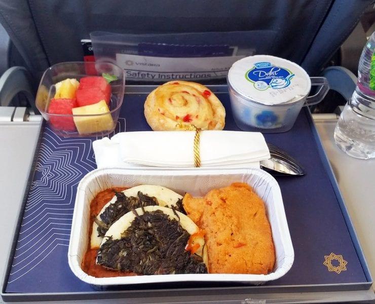 Vistara Airlines premium economy class meal