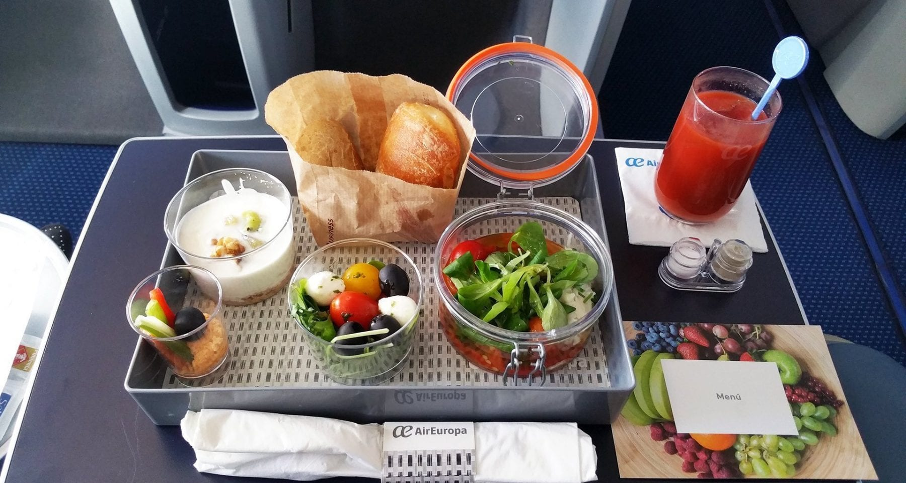Air Europa business class meal salad