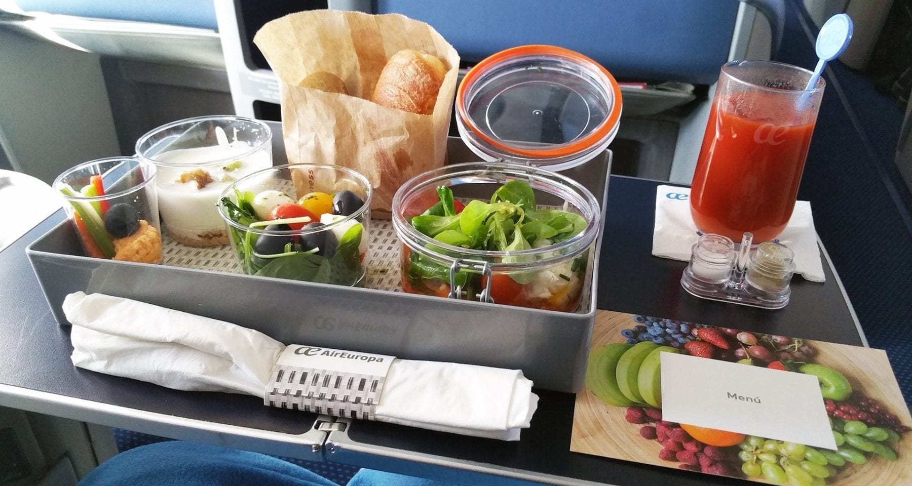 Air Europa business class meal, healthy meal
