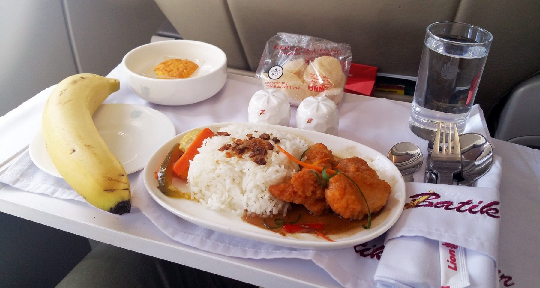 Batik air inflight meal review i thought it was quite funny that they simply slapped a banana down on the plate most premium cabin airlines would have cut it up and presented it better stopboris Image collections
