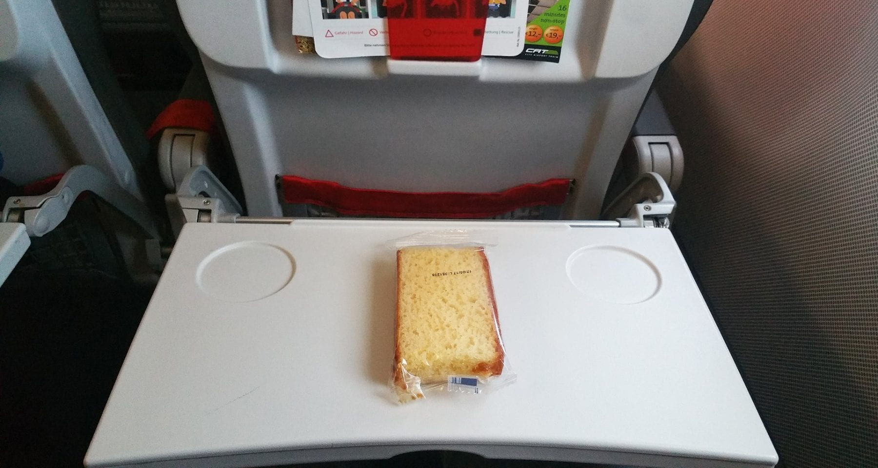 Austrian airlines economy class snack on european flights